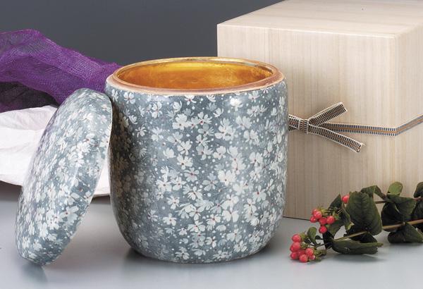 骨壷 葉月窯 氷雪墨花(ひょうせつすみばな)金塗(サイズは3種類) 骨壷