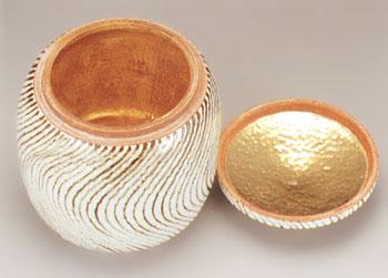 骨壷 葉月窯 ねじり紋(ねじりもん)金塗(サイズは3種類) 骨壺