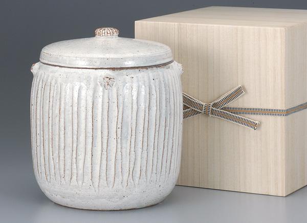 骨壷 葉月窯 手彫粉引(てぼりこびき)(サイズは3種類) 骨壷