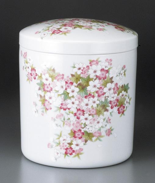 骨壷 四季の花柄桜(しきのはながらさくら)(サイズは3種類)【ウラブタ刻印可】 骨壷