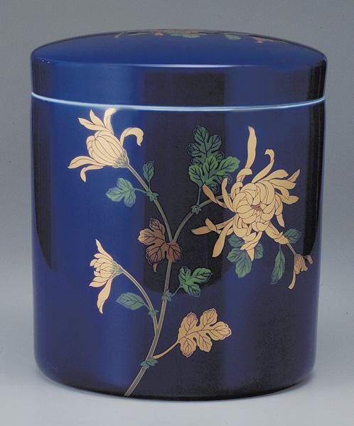 骨壷 切立 ルリ金彩菊(ルリきんさいぎく) (サイズは3種類)【ウラブタ刻印可】 骨壷