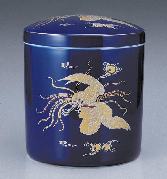 骨壷 切立 ルリ鳳凰(ルリほうおう)(サイズは3種類)【ウラブタ刻印可】 骨壷