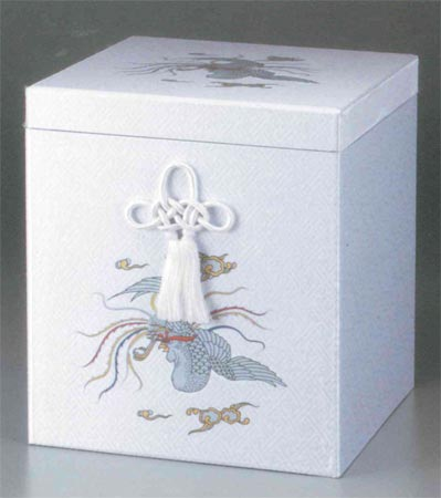 貼箱のみ 人絹鳳凰(じんけんほうおう)  (サイズは骨壷5~7寸用) 骨壷