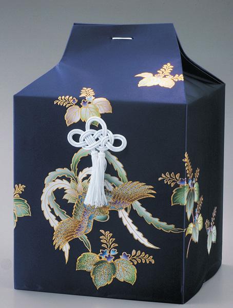 桐箱用骨カバーのみ ビーズ鳳凰【紺】 (サイズは骨壷6寸用・7寸用) 骨壷
