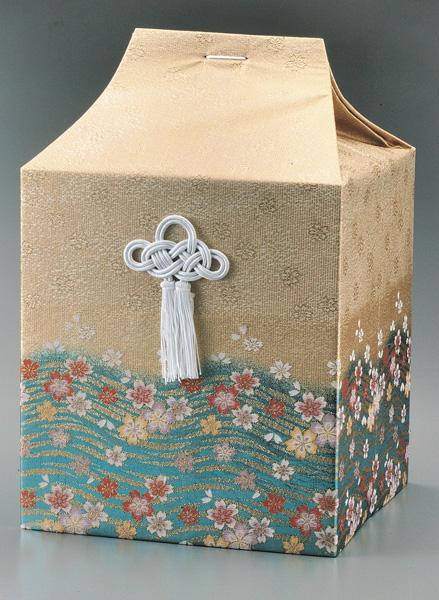 桐箱用骨カバーのみ 流水に桜【ブルー】 (サイズは骨壷5~7寸用) 骨壷