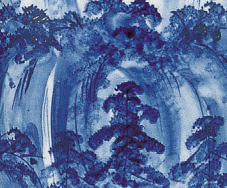 骨壷 手描き山水(サイズは3種類) [箱書組紐木箱付] 骨壺