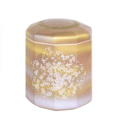 骨壷 九谷焼 紫に白かすみ草 10角(サイズは3種類) 骨壷