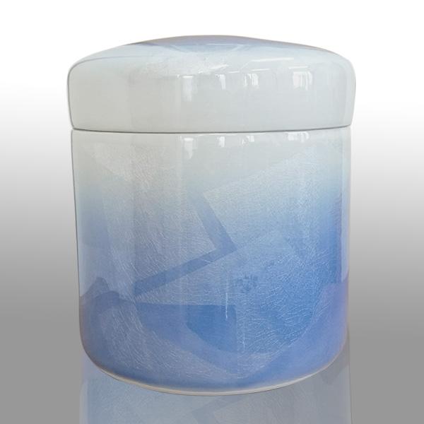 骨壷 九谷焼 銀彩 ブルー サイズ:5寸