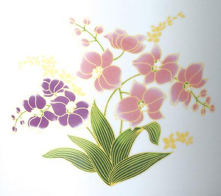 骨壷 白胡蝶蘭(サイズは3種類)【ウラブタ刻印可】 骨壺